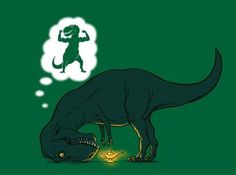 Poor T-Rex. I didn't retain very much from my geology of dinosaurs class, but I do find T-Rex jokes even more amusing now. Sheldon The Tiny Dinosaur, Dinosaur Funny, Dinosaur Dinosaur, T Rex Humor, T Rex Jokes, Golf Humor, T Rex Jurassic Park, Humor Grafico, Haha Funny