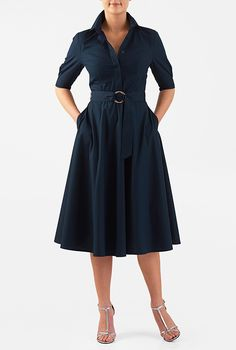 Our classic point-collar shirtdress cinched softly with a two-ring tie belt and tailored to fit-and-flare from the waist Work Fashion, Modest Fashion, Fashion Dresses, Fashion Clothes, Fashion Ideas, Stylish Outfits, Cool Outfits, Casual Dresses, Dresses For Work