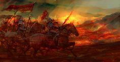 Воины на лошадях скачут в оранжевом свете солнца