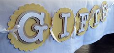 Gifts Banner- Yellow Polka Dot, Gold and White. Perfect for a baby shower, christening or baptism