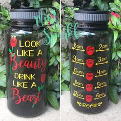 Look like a beauty drink like a beast how cute is this water bottle?! Not to mention the little boost of motivation it add with the hourly tracker. Drinking two of these a day is the recommended eight glasses a day. This is a BPA-free 34oz water bottle with high quality permanent vinyl added. Hand washing is recommended with these bottles, they are not dishwasher safe. We offer 6 different colors in the water bottle. Please use the drop down menu to select your ccchoice of water bottle…