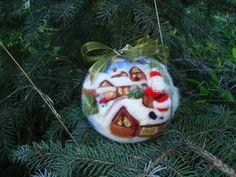 Felt christmas ball Santa claus on the roof. by ElisFeltCraft