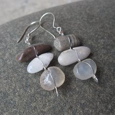 Gem stone earrings  Quartz Agate petrified by NaturesArtMelbourne,