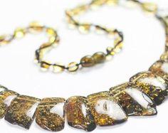 Luxury green Baltic amber necklace. Beaded massive genuine amber jewelry.