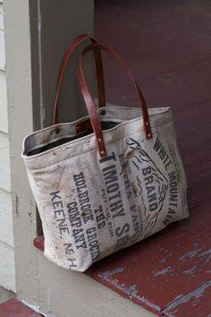 Small Tote vintage seed bag canvas by dappermonkey on Etsy