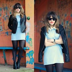 Glamorous Blue Shift Dress, Zara Biker Jacket