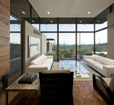 Furniture, Comfortable Modern Living Room With Stunning Outside View Due To The Floor To Ceiling Glass Window Decorated With White Two Big Sofas: Amazing Big Sofas Design Ideas For Your Wide Rooms
