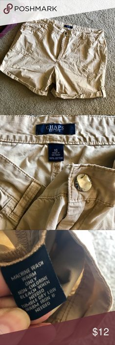"""Chaps Roll up Khaki Shorts Button Flap Safari Superrrrr comfy and perfect for hot humid weather, these CHAPS shorts are khaki, thin materialed and breathable. Cute snaps buttons throughout. Adjust the length by the snaps in the sides. Undone, these measure 19"""". Rolled up, they are about 15 1/2"""". Waist measured across is 19"""". These are a little bit higher rise but don't have much stretch. Size is 16. Pretty true to size. I think Chaps does run a Tad small. Please let me know if you have any…"""