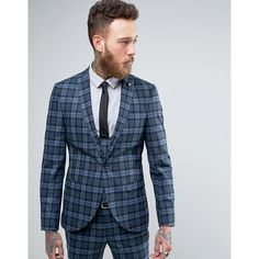 Noose & Monkey Super Skinny Suit Jacket In Check ($210) ❤ liked on Polyvore featuring men's fashion, men's clothing, blue and tall mens clothing