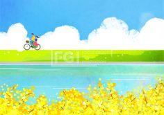 SPAI196, 프리진, 일러스트, 계절, 공간, 공원, 깨끗함, 날씨, 들판, 시골, 실외, 자연, 풀, 지평선, 전경, 환경, 경치, 봄풍경, 풍경, 봄, 행복한풍경, 하늘, 구름, 잔디, 나무, 언덕, 2인, 남자, 여자, 데이트, 사랑, 고백, 가족, 신혼, 개나리, 꽃잎, 나뭇잎, 자전거, 도록, 호수, 강, 개울가, 풀잎, 커플,#유토이미지