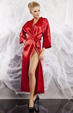 Kimono long en satin bordeaux Iga in 2019  433881fd9