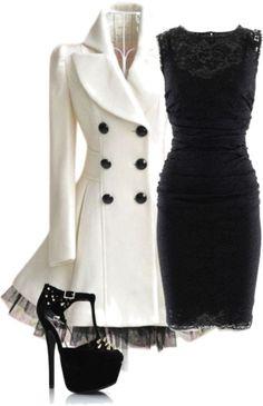 Love the black lace dress  cute white coat. hate the slutty shoes. Lol.