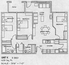 Картинки по запросу 3 bedroom apartment plan