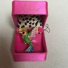 Betsy Johnson ring Colorful humming bird ring with rhinestones. Fits a size 7 but has a stretch band so it can fit a size 8 and possibly a 9. In great condition.  Only wore a couple of times. Betsey Johnson Jewelry Rings