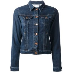 MIH JEANS 'The Denim Jacket' ($185) ❤ liked on Polyvore featuring outerwear, jackets, coats, denim, slim jacket, blue jackets, slim fit jacket, blue denim jacket and long sleeve jacket