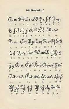 Vintage German Alphabet, Handwriting Guide - Genealogy - From German language teaching book. 2 pages, double sided. size 5 x 8 - Alphabet Symbols, Handwriting Alphabet, Handwriting Styles, Cursive, Genealogy Websites, Beautiful Handwriting, The Book Thief, Family Genealogy, Penmanship