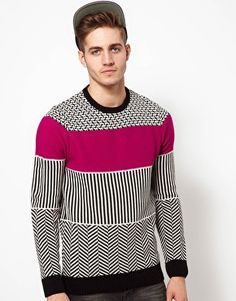 ASOS Block Pattern Jumper  £35.00  This jumper by ASOS has been constructed in a midweight knit. It comes in a regular fit. The details include: a round ribbed neckline, long sleeve styling, a monochrome stripe design with a contrast colour block to the chest, and contrast ribbed cuffs and hem.