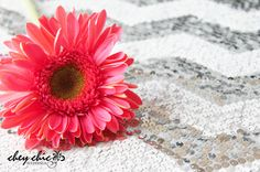Silver sequin Chevron with pink daisy! Darling! - Chey Chic Weddings