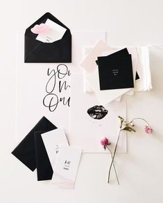 modern monochrome black and white with pale pink wedding stationery