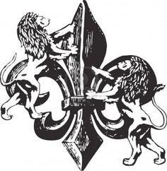 Fleur De Lis With Lions Tattoo Design