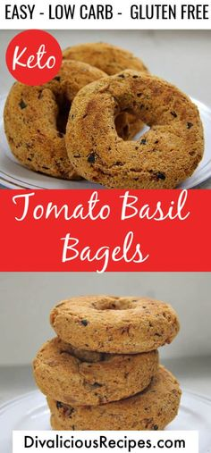 Tomato Basil Low Carb Bagels - Divalicious Recipes Gluten Free Recipes Videos, Gluten Free Recipes For Lunch, Low Carb Recipes, Bread Recipes, Vegetarian Recipes, Low Carb Bagels, Low Carb Bread, Keto Bread, Low Carb Breakfast
