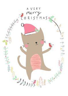 Aless Baylis | Christmas Cat – postkaart #feedesfleurs