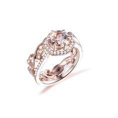 Morganite Engagement, Engagement Ring Settings, Engagement Rings, Diamond Wedding Rings, Wedding Band, Charles And Colvard Moissanite, Pave Ring, Vintage Diamond, Custom Jewelry