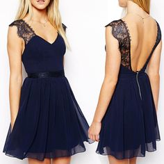 V Neck Spaghetti Strap Sleeveless A Line Blue Cotton Mini Dress