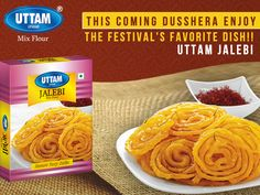THIS COMING DUSSHERA ENJOY  THE FESTIVAL'S FAVORITE DISH!!  --UTTAM JALEBI  #UTTAM #JALEBI #UTTAMJALEBI  #UttamGaayChhap Indian Food Items, Indian Food Recipes, Spices, Dishes, Box, Plate, Snare Drum, Indian Recipes, Utensils