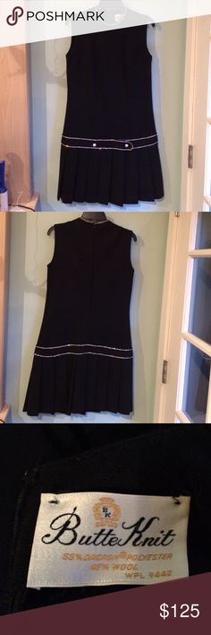 """Vintage Little Black Dress Butte Knit Original! Excellent Vintage Condition! All rhinestones intact. 55% Dacron Polyester and 45% Wool. No size tag. Bust about 35"""". Waist about 33"""". Hips about 36"""". Length of back about 36"""". Back zipper, 20"""" with hook and eye catch at top. Pleats are about 11"""" long by 2 1/2"""" across. Please ask any questions prior to purchase as I want you to be 100% satisfied with this gem of a dress! Butte Knit Dresses"""