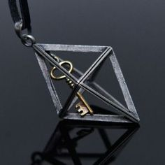 Key in Rhombus Long-Necklace 306 by Guylook.com      Antique secret key in rhombus charm & genuine leather long lace     Great for both sexes