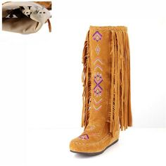 Kenavinca Winter Boots Fashion Chinese Nation Style Flock Leather Women Fringe Flat Heel Woman Tassel Knee High Long Boot Plus Size Black Plush Fur 13 Winter Heels, Winter Boots, Fringe Boots, Leather Fringe, Long Boots, Knee High Boots, Pull On Boots, Fashion Boots, Casual Outfits