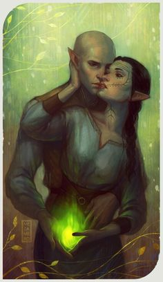 Solas and Lavellan http://amagicrobot.tumblr.com/post/106657591248/on-solas-shartan-what-if-like-mythal-flemeth