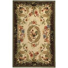 Hand-hooked Rooster and Hen Cream/ Black Wool Rug (8'9 x 11'9) | Overstock.com Shopping - The Best Deals on 7x9 - 10x14 Rugs