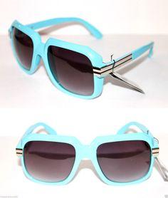 3293e759509 Mens Vintage 607 Sunglasses Run DMC Old School Light Blue Silver Gazelle  Hip Hop  Stars  Aviator