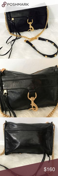 Rebecca Minkoff black full size Mac Gorgeous And iconic Rebecca Minkoff black leather full size Mac, gold chains. Perfect for everyday wear, excellent condition. Smooth and sleek look, Retail $300+! BUNDLE & SAVE 15% ❌TRADES❌ OFFERS WELCOME 🍂4093017🍂 Rebecca Minkoff Bags Crossbody Bags
