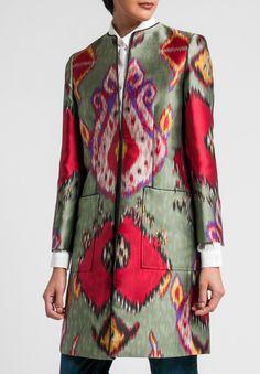 Etro Ikat Print Jacket in Sage