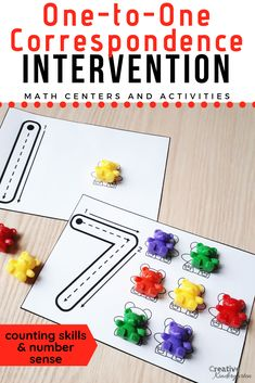 Correspondence Intervention Activities for Kindergarten Number Sense Reinforce counting skills and number sense with these 6 hands-on math centers. Use different math manipulatives and strategies to build number sequence and one-to-one correspondence. Number Sense Kindergarten, Kindergarten Math Activities, Preschool Math, 1 To 1 Correspondence Preschool, Math Games, Math Math, Kindergarten Calendar, Kindergarten Morning Work, Correspondence Cards