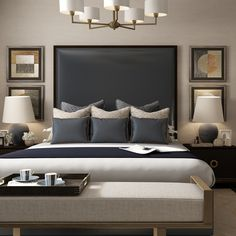 The final room in our Riverside Apartment Collection is this classic blue bedroom with touches of antique brass. You can shop every piece… Master Bedroom Interior, Home Decor Bedroom, Modern Bedroom, Bedroom With Sofa, Lux Bedroom, Hotel Bedroom Design, Bedroom Classic, Contemporary Bedroom Furniture, Bedroom Wall