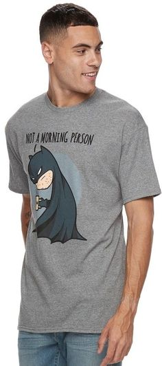 """Men's DC Comics Batman """"Not A Morning Person"""" Tee"""