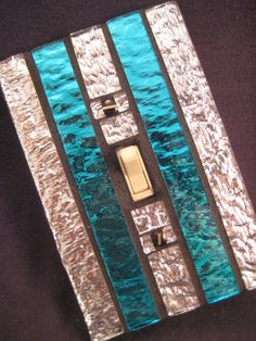 Switch Plate CoverTurquoise and Silver Mosaic Stained by sooz1, $20.00