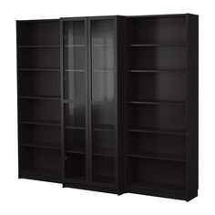 BILLY Bookcase combination with doors - black-brown - IKEA