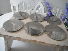 Silver-plated coaster set - by ShabbyRoad (on Etsy)