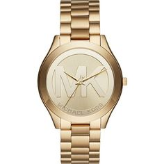 Michael Kors Slim Runway Three-Hand Watch - Gold - Women's Watches ($156) ❤ liked on Polyvore featuring jewelry, watches, metalic, slim watches, gold wristwatch, michael kors watches, gold jewelry and water resistant watches