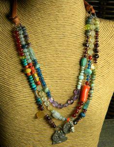 Artisan Silver Pendant Necklace Heart Colorful Multi Gem