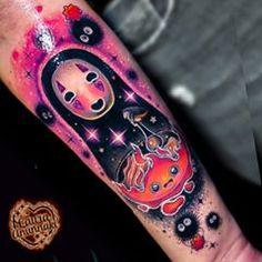 Laura Anunnaki, Bright Tattoos, Kawaii Tattoo, Dip Dye Hair, Tattoo Skin, Face Painting Designs, Skin Art, Studio Ghibli, Tattoo Artists