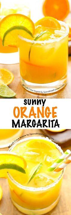 This Sunny Orange Margarita recipe is great, a little sweet, tart & so refreshing! Fresh lime juice & orange juice and triple sec make this amazing!