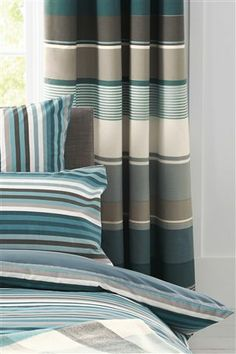 Buy Set Of 2 Teal Stripe Square Pillowcases from the Next UK online shop