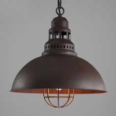 Antique Brown Single Light Pendant in Cage Style