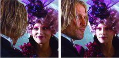 Effie definitely has a crush on Haymitch, but Haymitch does not like Effie. That's what I'd say is going on. - Elizabeth Banks